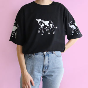IMPERFECT Black Hand Printed COWS Tee