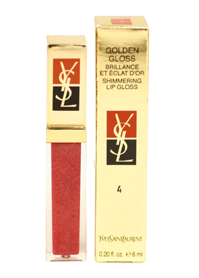 YSL04 - Golden Gloss Shimmering Lip Gloss for Women - 0.2 oz / 6 ml - #4 Golden Fuschia
