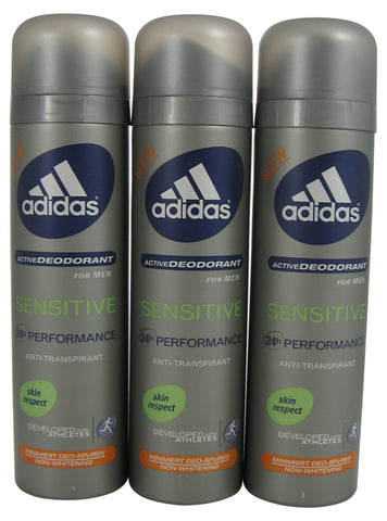 ADD49M - Adidas Sensitive Anti-Perspirant for Men - 3 Pack - Spray - 5 oz / 150 ml - Alcohol Free