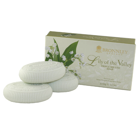 BRO11 - Bronnley Lily Of The Valley. Soap for Women - 3 Pack - 3.5 oz / 100 g