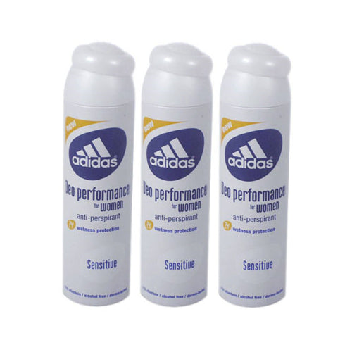 ADD39 - Adidas Sensitive Anti-Perspirant for Women - 3 Pack - Spray - 5 oz / 150 ml - Alcohol Free