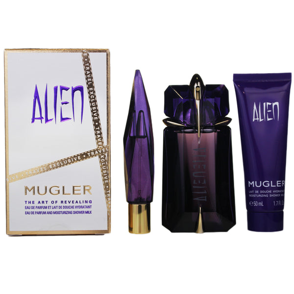 ANAR2 - Thierry Mugler Alien 3 Pc. Gift Set for Women - Moisturizing Shower Milk 1.7 oz + EDP 0.3 oz + EDP 2 oz