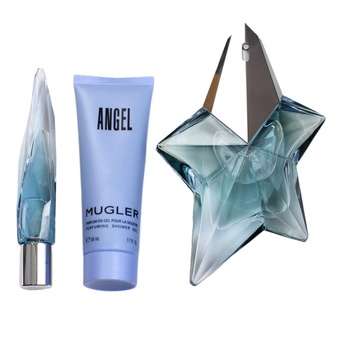 ANGP17 - Thierry Mugler Angel 3 Pc. Gift Set for Women - EDP 0.3 oz + Bath & S/G 1.7 oz + EDP 1.7 oz