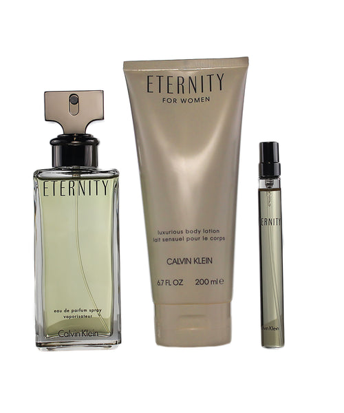 CKEG6 - Calvin Klein Eternity 3 Pc. Gift Set for Women - EDP 3.4 oz + B/L 6.7 oz + EDP 0.33 oz
