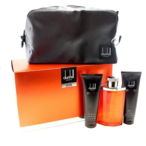 DE111M - Alfred Dunhill Desire 4Pc. Gift Set ( Eau De Toilette Spray 3.4 Oz + Aftershave Balm  3.0 Oz +Shower Gel 3.0 Oz. + Toiletry Bag )