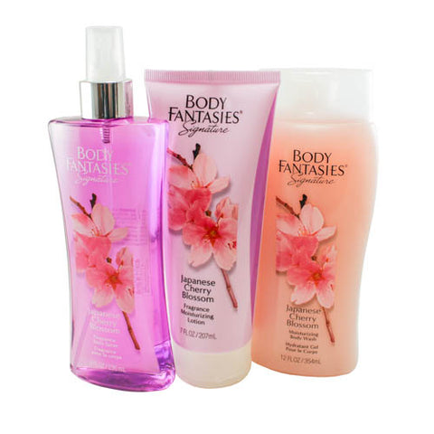 JCB30 - Japanese Cherry Blossom 3 Pc Gift Set ( Body Wash 12 Oz + Body Lotion 7 Oz + Fragrance Body Spray 8 Oz ) for Women by Parfums De Coeur
