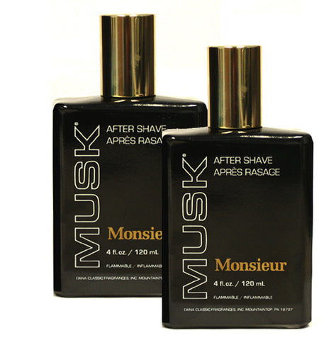 MO40M - Dana Monsieur Musk Aftershave for Men - 8 Pack - 1 oz / 30 ml
