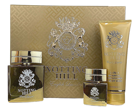 NOT37M - English Laundry Notting Hill 3 Pc. Gift Set for Men - EDP 0.68 oz + EDP 3.4 oz + 3-in-1 Shampoo/Conditioner/Body Wash 8 oz