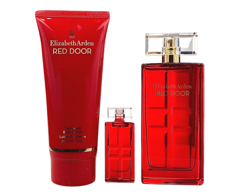 RE667 - Red Door 3 Pc. Gift Set ( Eau De Toilette Spray 1.7 Oz + Body Lotion  3.3 Oz + Parfum Mini 0.16 Oz ) for Women