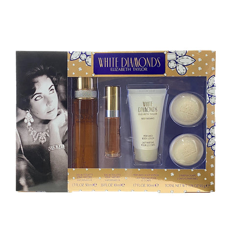 WH421 - White Diamonds 5 Pc. Gift Set ( Eau De Toilette Spray 1.7 Oz + Eau De Toilette Spray 0.33 Oz Mini + Perfumed Body Lotion 1.7 Oz + 2x Perfumed Soaps ) for Women by Elizabeth Taylor