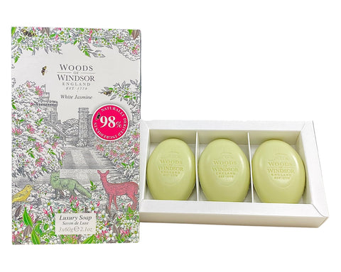 WHI14-P - Woods of Windsor White Jasmine Luxury Soap  for Women - 3 Pack - 2.1 oz / 60 g