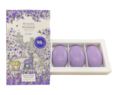 WHL21 - Woods of Windsor Lavender Luxury Soap for Women - 3 Pack - 2.1 oz / 60 g