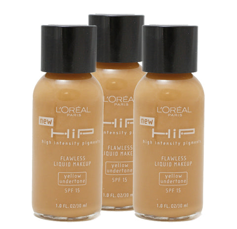 LRH33 - Loreal Hip Flawless Liquid Makeup Foundation for Women - 3 Pack - SPF 15 - 1 oz / 30 ml - Cappuccino #812