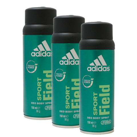 AD416M - Adidas Sport Field 24 Hour Deodorant for Men - 3 Pack - Body Spray - 5 oz / 150 ml