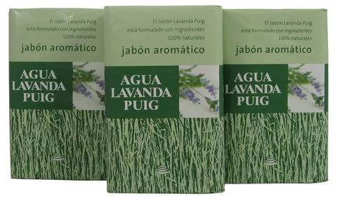 AGL33 - Agua Lavanda Puig Soap for Men - 3 Pack - 4.4 oz / 130 ml - Pack