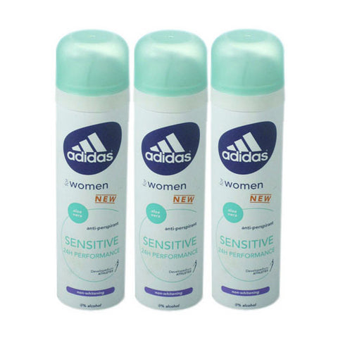 ADD35 - Adidas Sensitive Anti-Perspirant for Women - 3 Pack - Spray - 5 oz / 150 ml - Non-Whitening