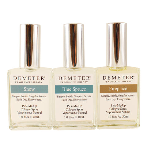DEMT1 - Blending Trio Cologne for Women - Snow + Blue Spruce + Fireplace 3 Pack - 1 oz / 30