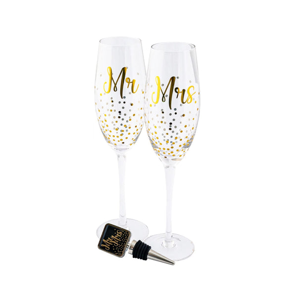 Mr & Mrs Champagne &  Stopper Set