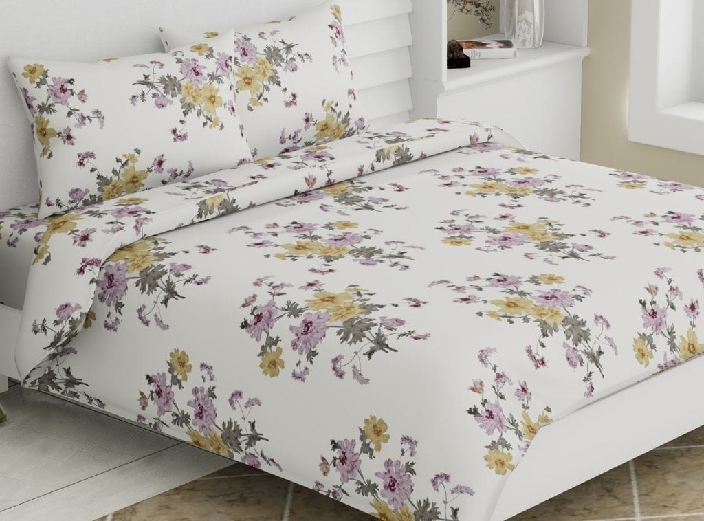 Eleganza Floral Delight , 100% Cotton, 300 TC, Purple & Yellow