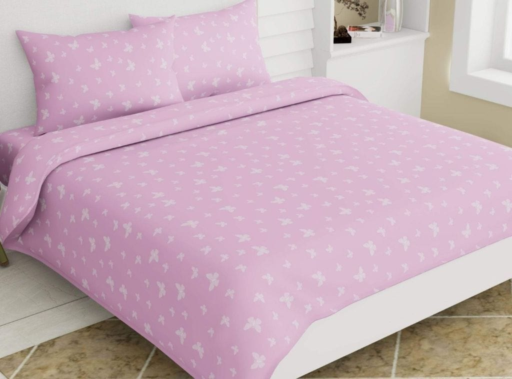 Small Butterfly Collection 100% Cotton Double Bedsheet 186 TC, Bright Pink