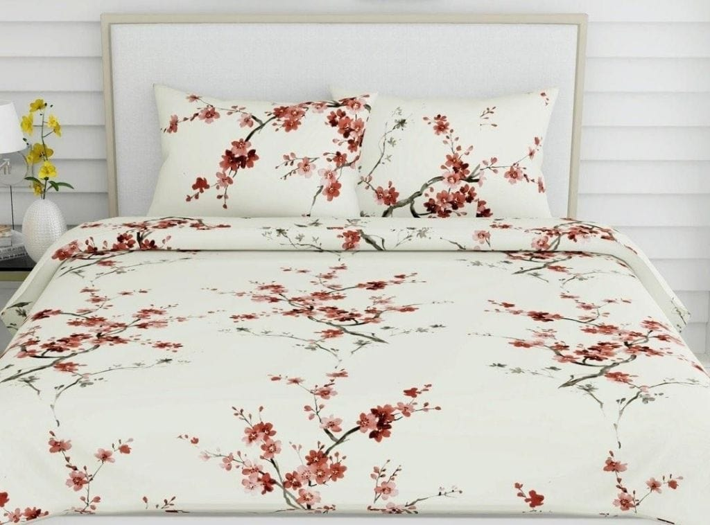 Floral Grace, 100% Cotton, 186 TC, Red