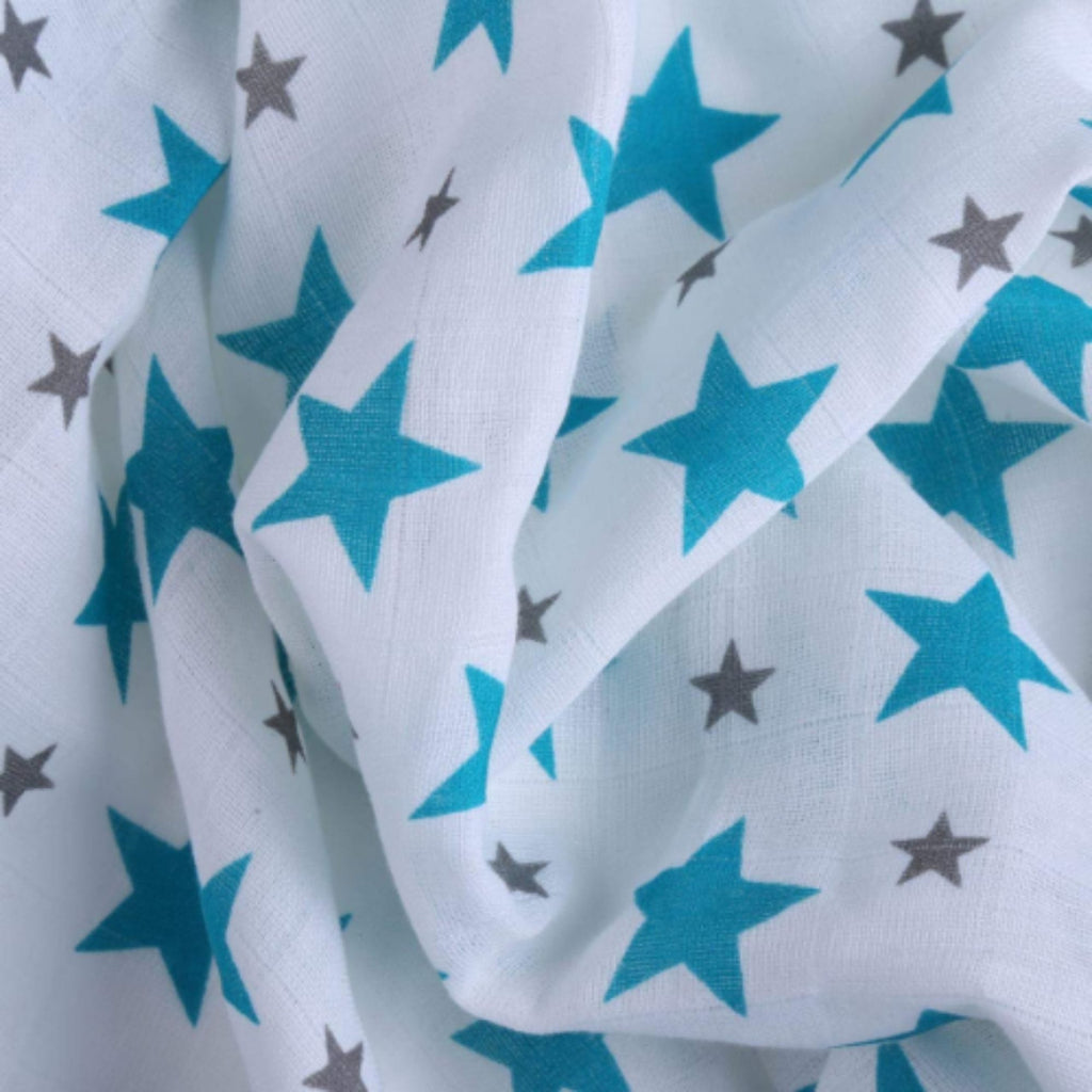 Monochrome Collection 100% Cotton Muslin Swaddle Pack of 3 (Turquoise, Grey, Star Grey) - haus & kinder
