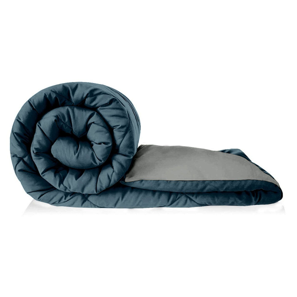 Microfibre Reversible Comforter Single Bed Size, Teal & Rich Grey - haus & kinder