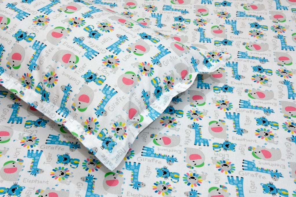 Nursery Quirky Prints Cotton Rich Single Bed Bedsheet with 1 Pillow Cover for Kids and Baby Rooms, Boys & Girls (Jungle Edition) - haus & kinder