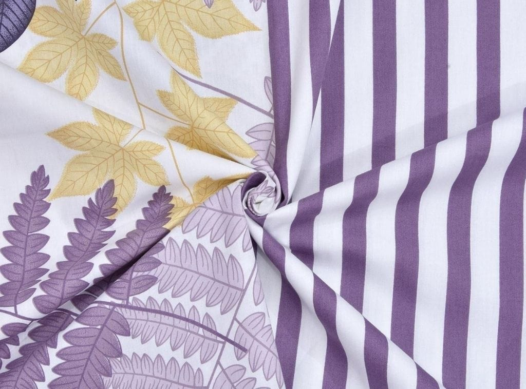 Fall Autumn Leaves 100% Cotton, 186 TC, Purple
