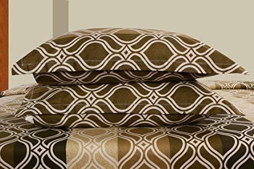 haus & kinder Olive Quaterfoil Signature 186 Thread Count, 100% Cotton Double Bedsheet with 2 Pillow Covers - haus & kinder