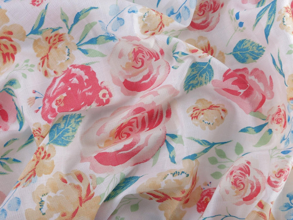 Florals 100% Cotton Muslin Swaddle Pack Of 2 (Ditsy, Happy) - haus & kinder
