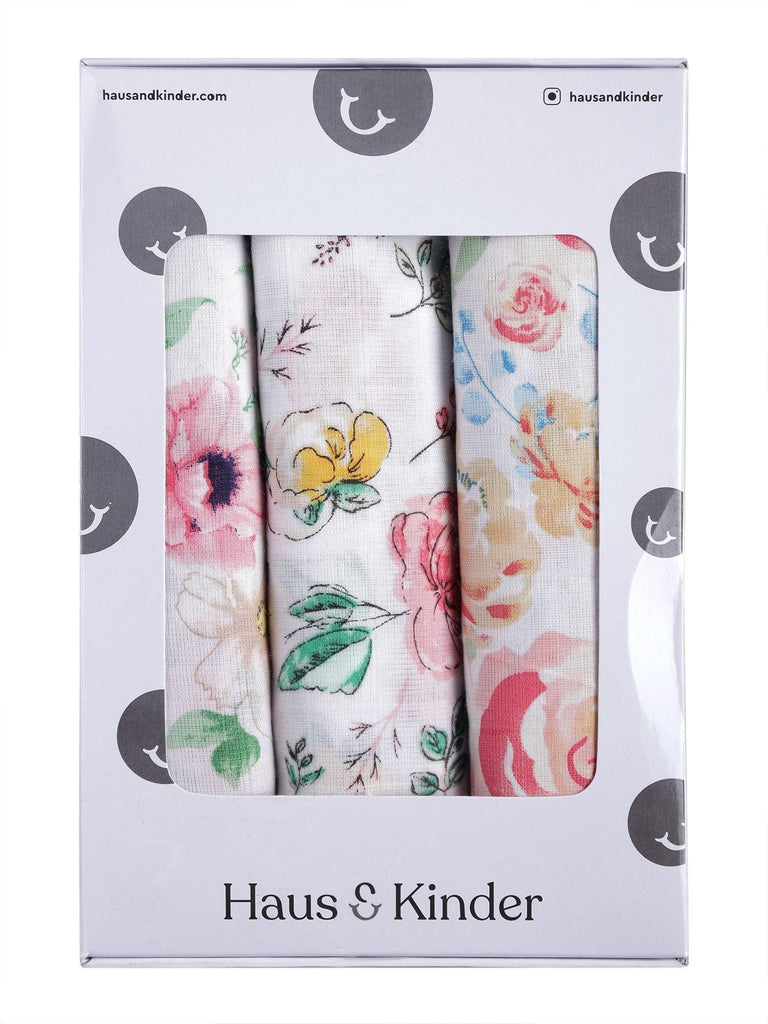 Florals 100% Cotton Muslin Swaddle Pack Of 3 (Happy, Vintage, Bird) - haus & kinder