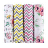 Florals 100% Cotton Muslin Swaddle Pack Of 4 (Ditsy, Vintage, Yellow, Pink) - haus & kinder
