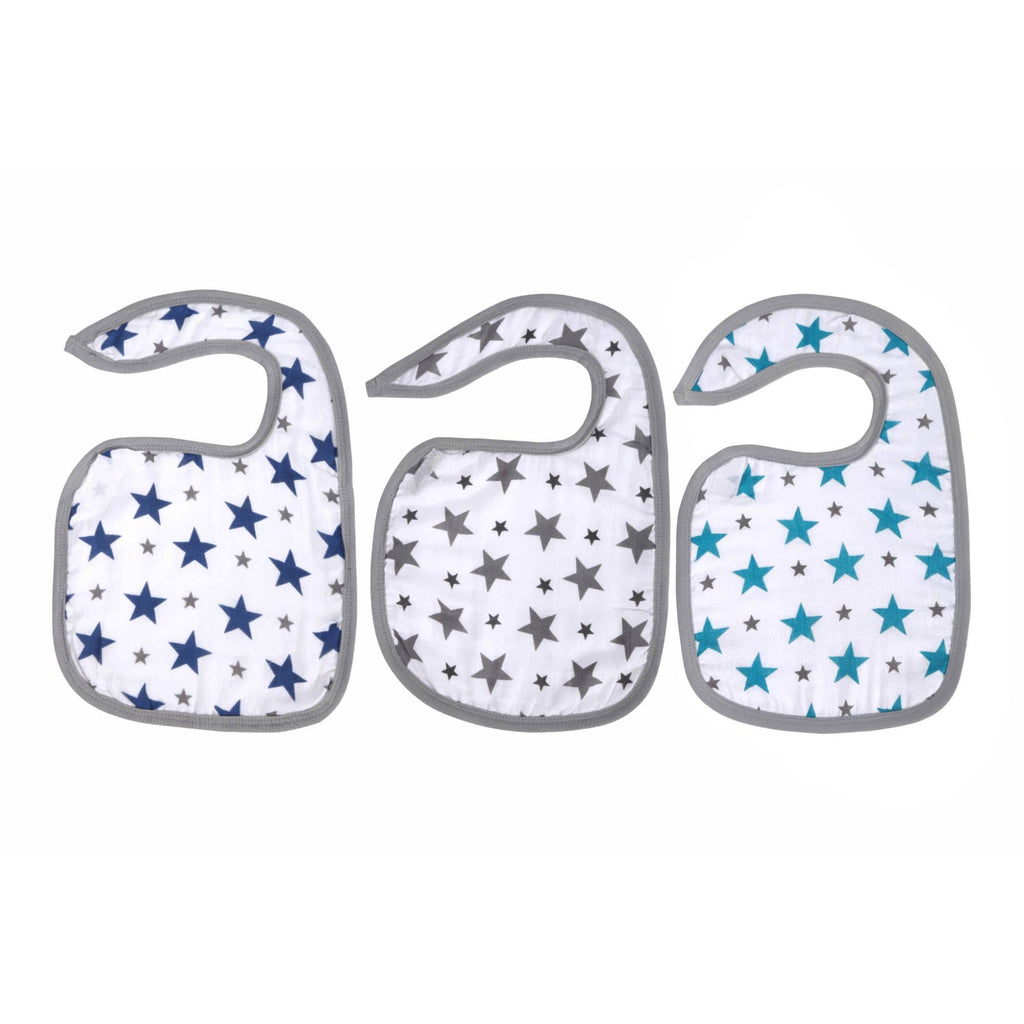 Twinkle Collection 100% Cotton Muslin Swaddle Pack Of 3 + 3 Classic Bibs (Twinkle Grey, Navy, Turquoise) - haus & kinder
