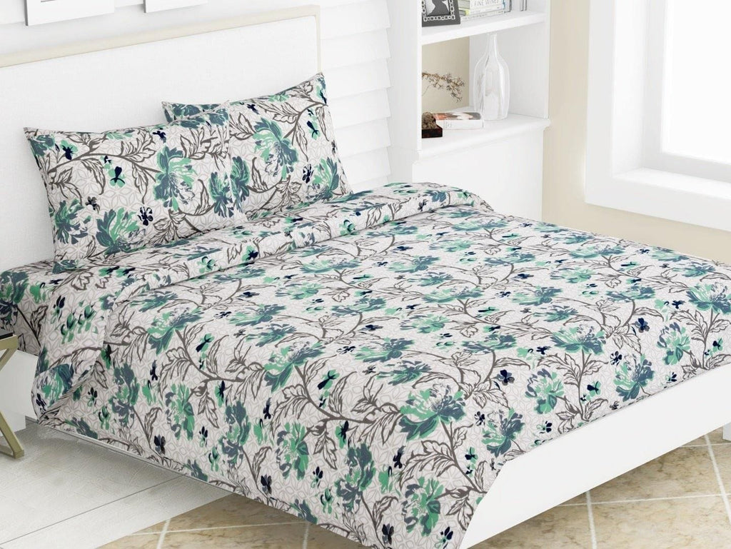 Greek Motifs 100% Cotton Double Bedsheet King Size with 2 Pillow Covers 144 TC - haus & kinder