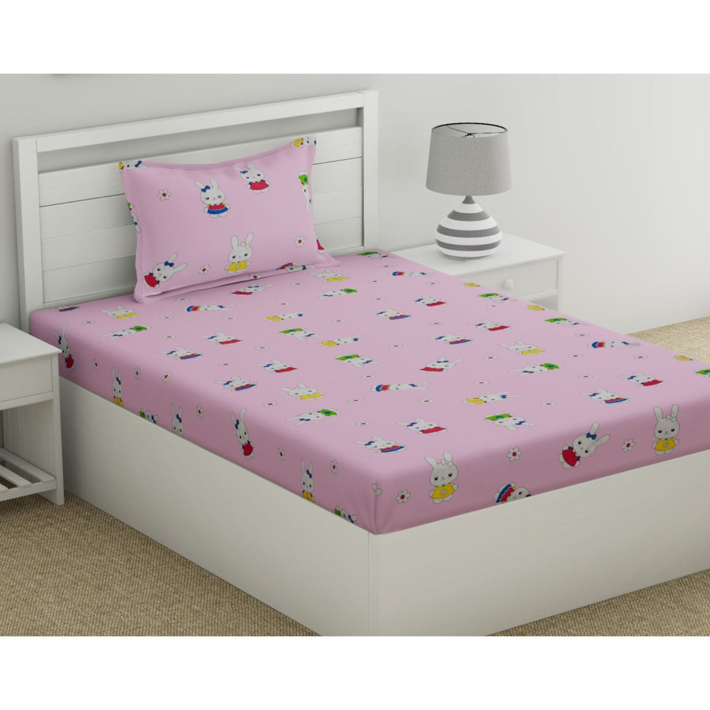 Adorable Bunny Treat 100% Cotton Single Bedsheet for Kids with 1 Pillow Cover 144 TC - haus & kinder