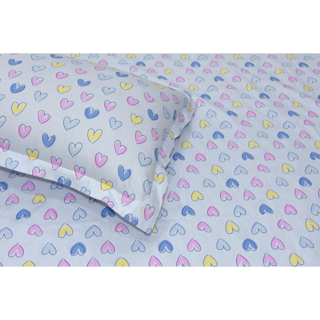 Candy Hearts 100% Cotton Single Bedsheet for Kids Room with 1 Pillow Cover - haus & kinder