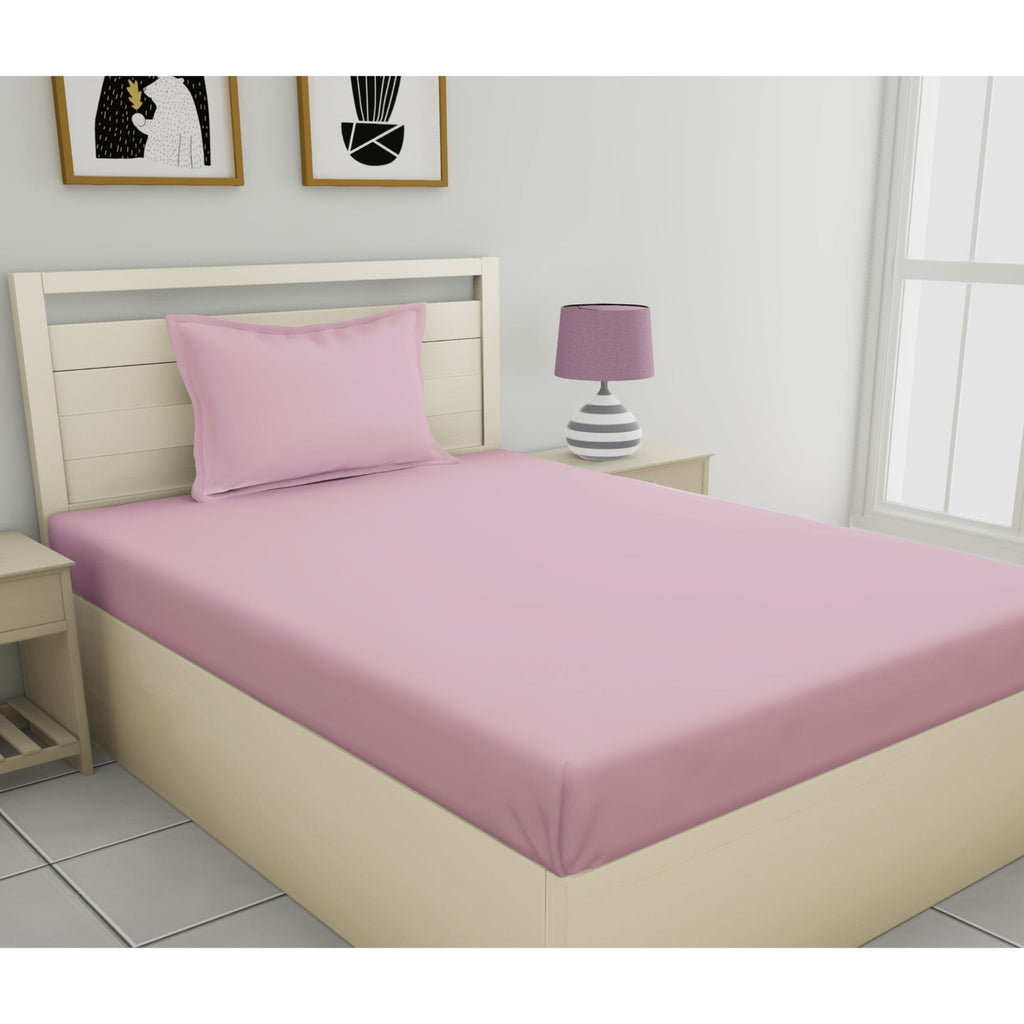 Fantasy Plain Collection 100% Cotton Single Bedsheet with 1 Pillow Cover 144 TC - haus & kinder
