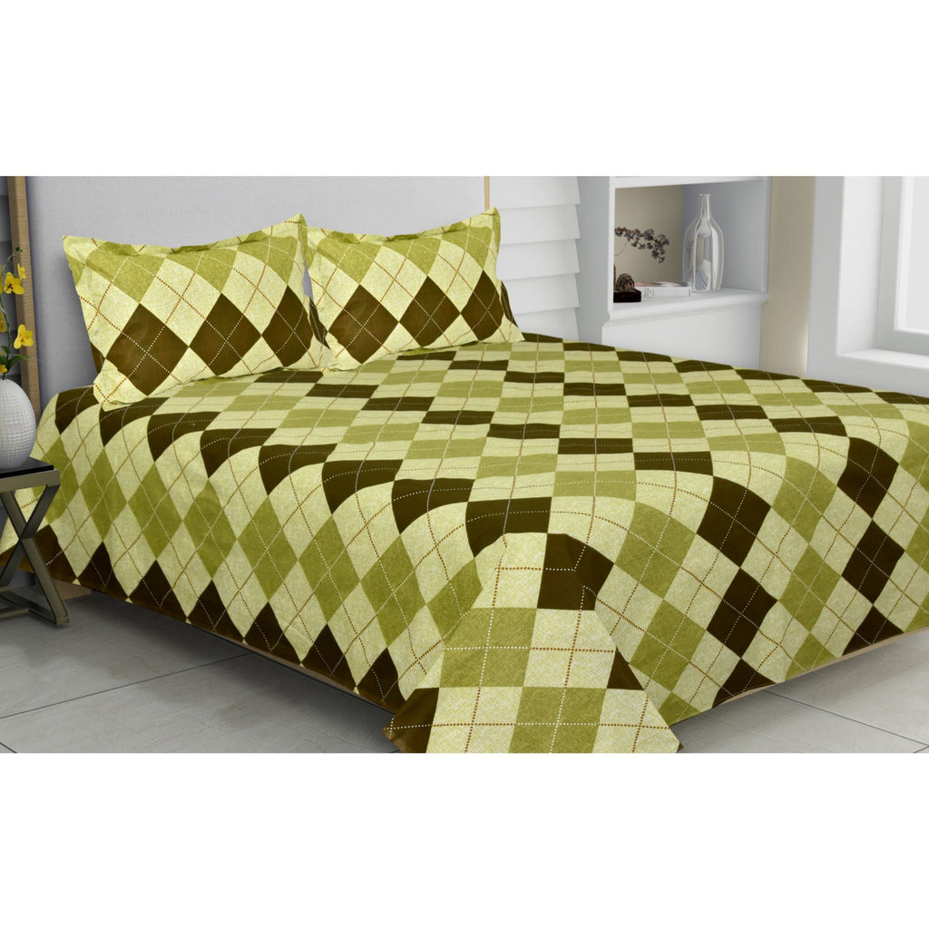 Greek Argyle Magic Collection 100% Cotton Double Bedsheet with 2 Pillow Covers 144 TC - haus & kinder