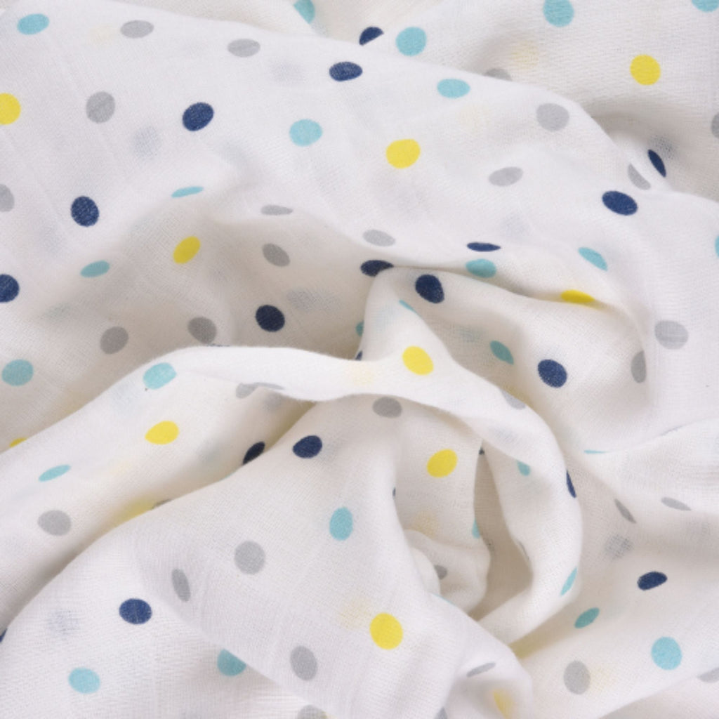 Blue Horse Collection 100% Cotton Muslin Swaddle Pack Of 3 (Anchor, Horse, Dots + 3 Bibs) - haus & kinder