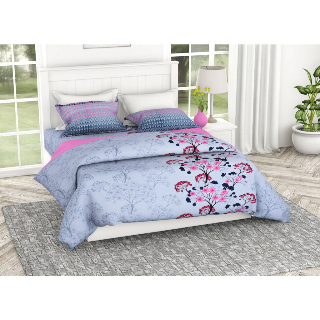 Floral Interplay Modern Print 100% Cotton Double Bedsheet with 2 Pillow Covers 186 TC - haus & kinder