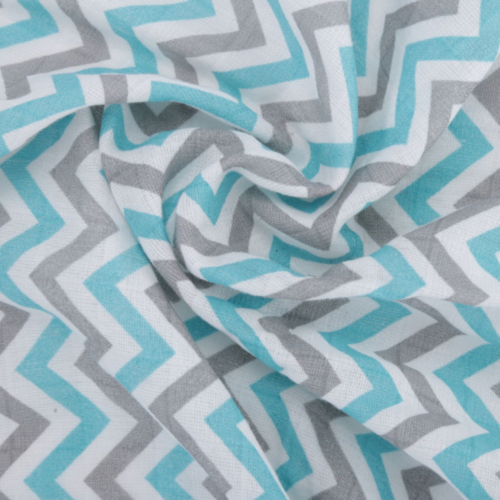 Chevron Stripes 100% Cotton Muslin Swaddle Pack Of 2 (Navy, Turquoise) - haus & kinder