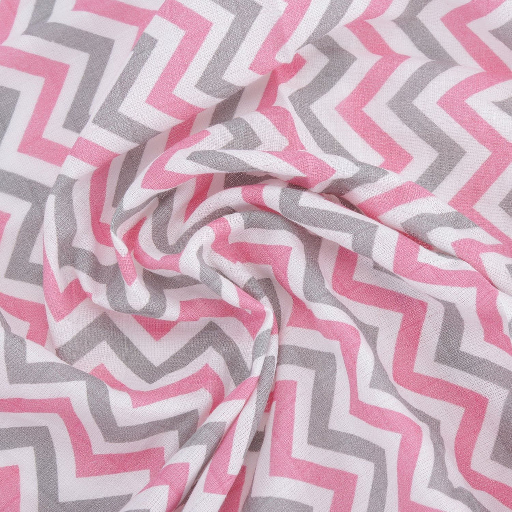 CHEVRON PINK 100% Cotton Muslin - haus & kinder