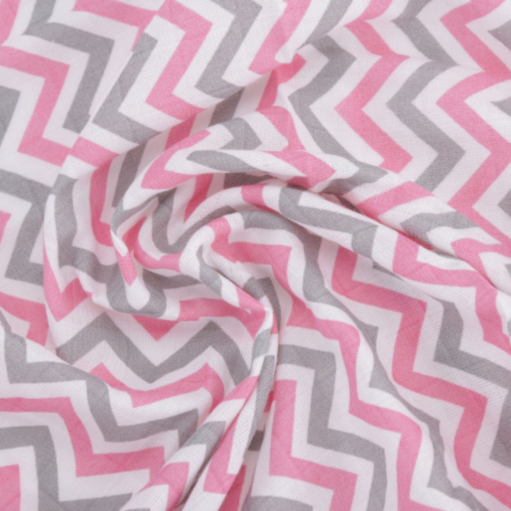 Chevron Stripes 100% Cotton Muslin Swaddle Pack Of 2 (Pink, Flamingo) - haus & kinder