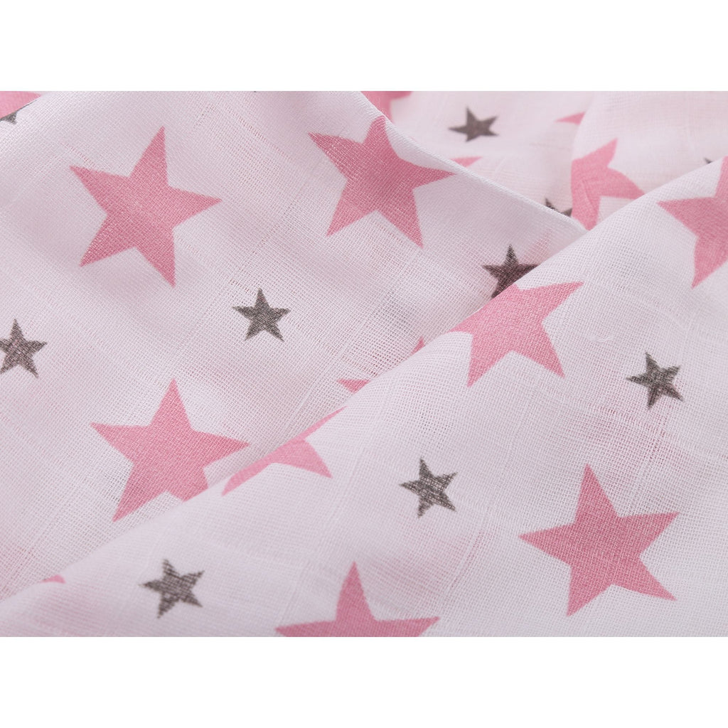 Chevron Stripes 100% Cotton Muslin Swaddle Pack Of 3 (Star Pink, Yellow, Dots) - haus & kinder
