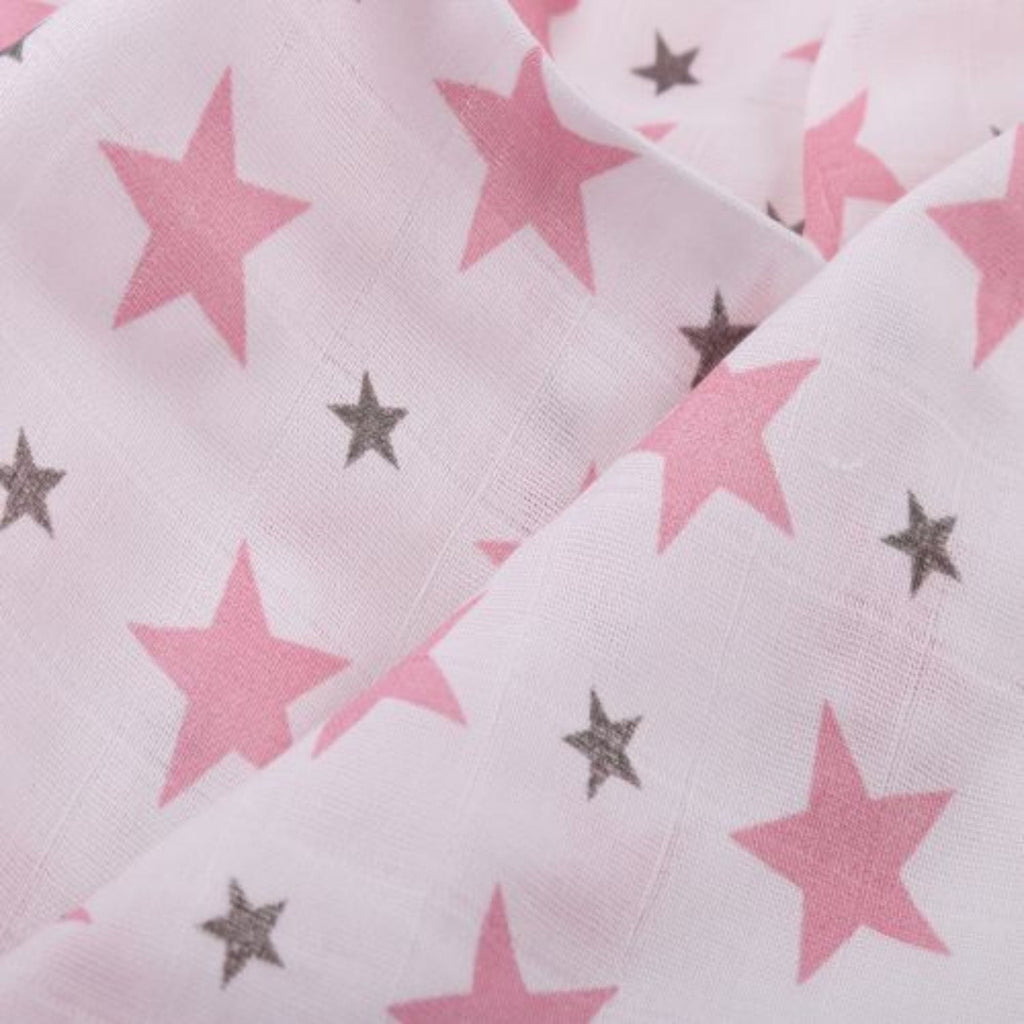 Twinkle Collection 100% Cotton Muslin Swaddle Pack Of 2 ( Pink Star, Flamingo) - haus & kinder