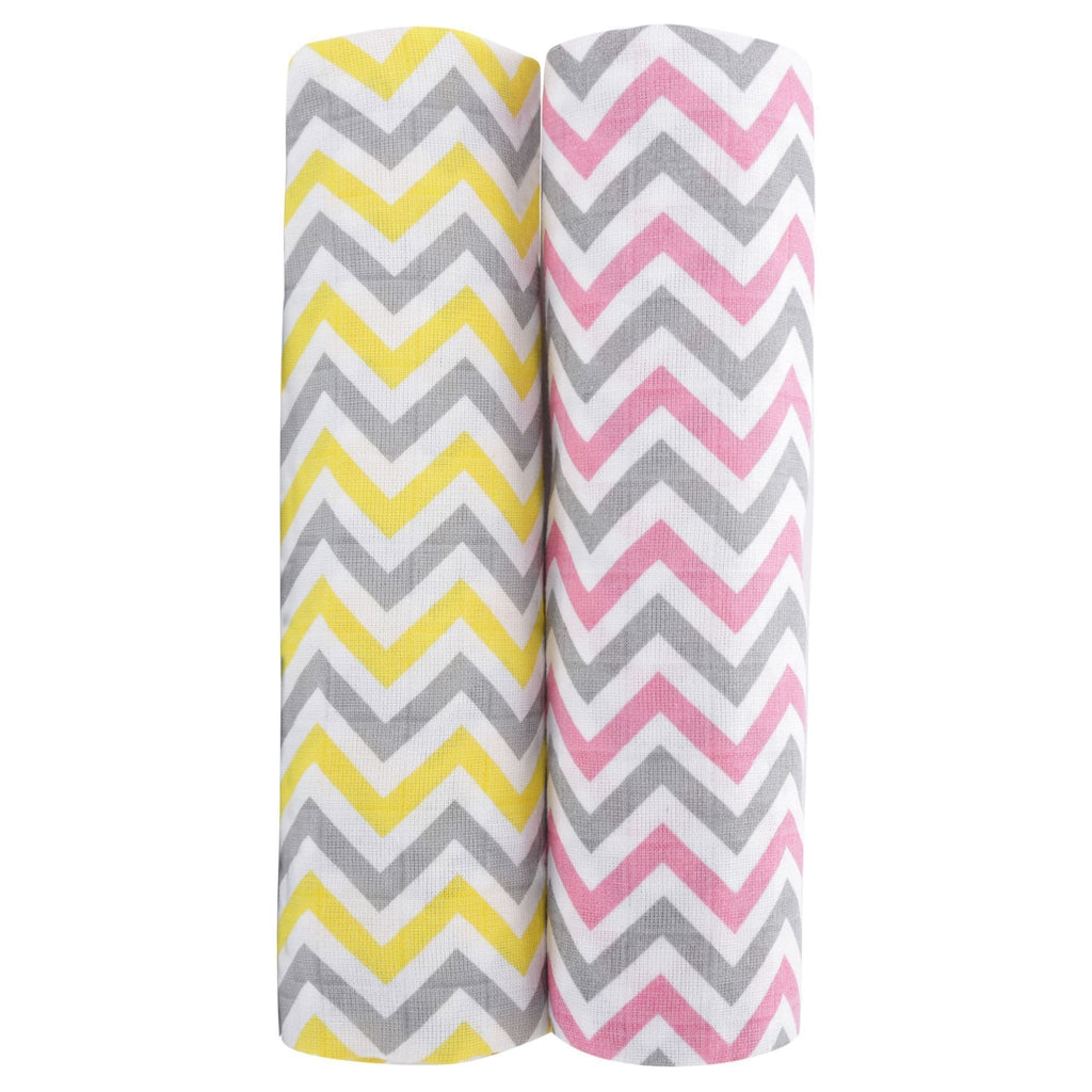 Chevron Stripes 100% Cotton Muslin Swaddle Pack Of 2 (Pink, Yellow) - haus & kinder