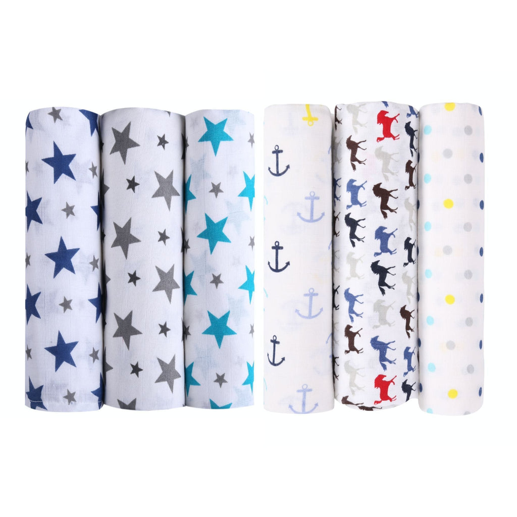 Blue Horse Collection 100% Cotton Muslin Swaddle Pack Of 6 (Twinkle + Blue Horse) - haus & kinder