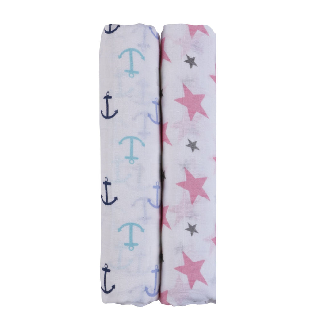 Think Pink Collection 100% Cotton Muslin Swaddle Pack Of 2 (Pink, Anchor) - haus & kinder
