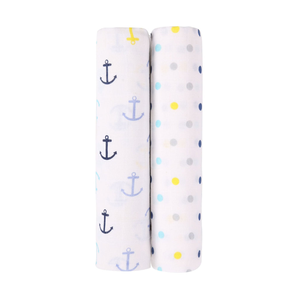 Blue Horse Collection 100% Cotton Muslin Swaddle Pack Of 2 (Anchor, Dots) - haus & kinder